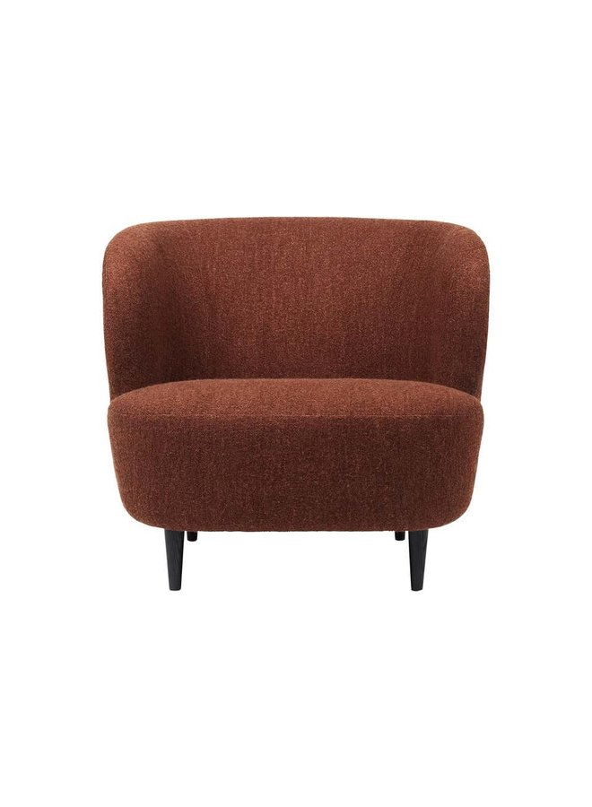 Stay Lounge Chair - Fully Upholstered, Large, Wooden legs (Black Stained Oak Semi Matte Lacquered)