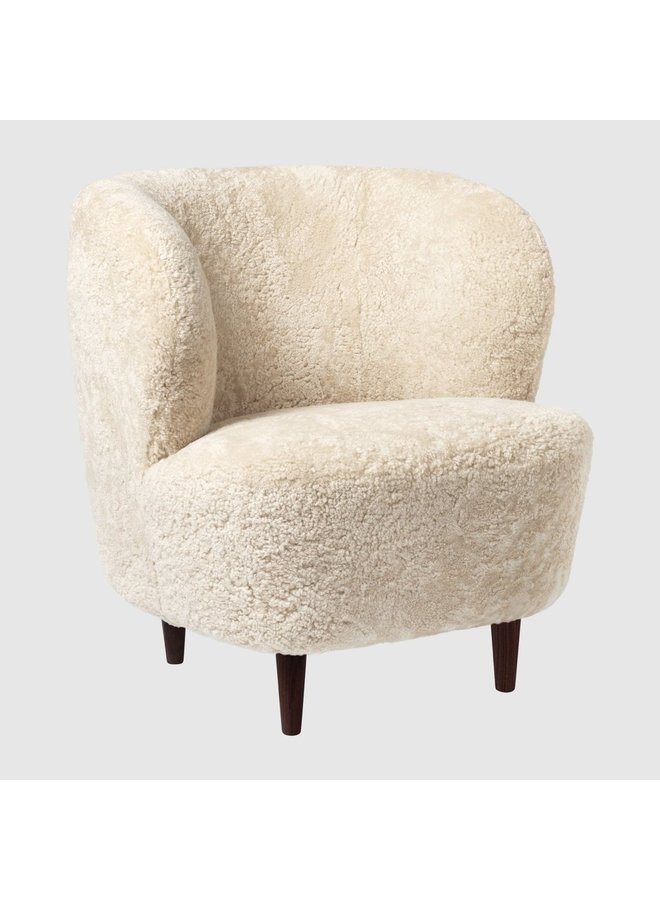 Stay Lounge Chair - Fully Upholstered, Small, Wooden legs (Smoked Oak Finish - Matte Lacquered)