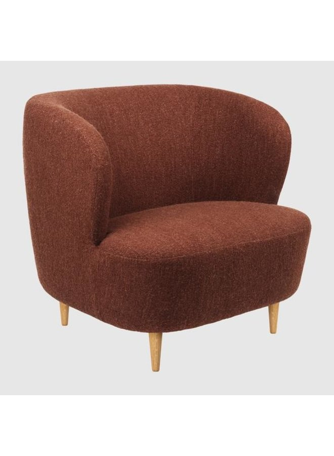 Stay Lounge Chair - Fully Upholstered, Large, Wooden legs (Oak Semi Matte Lacquered Base)
