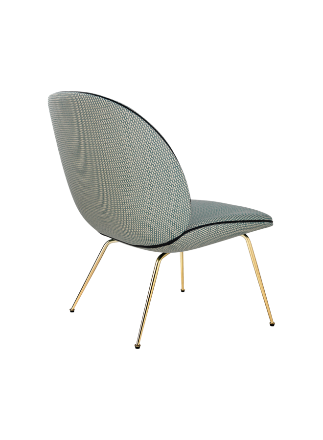 Beetle Lounge Chair - Fully Upholstered, Conic base, Antique Brass