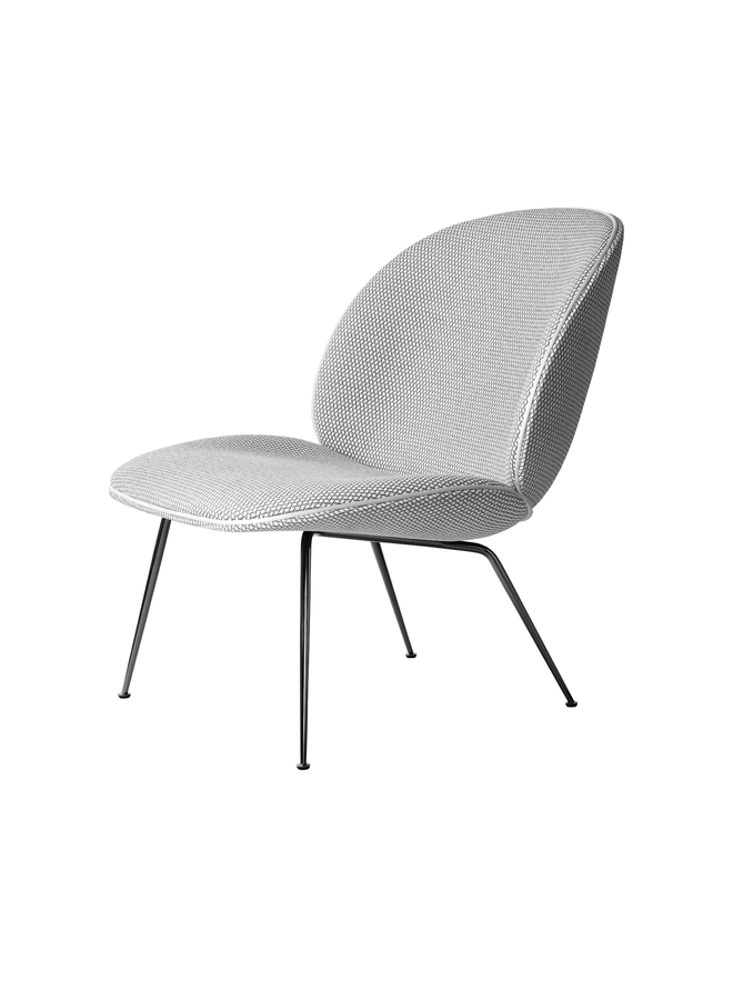 Beetle Lounge Chair - Fully Upholstered, Conic base, Black Chrome