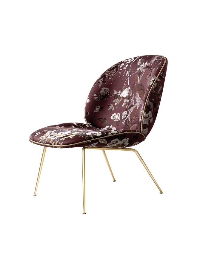 Beetle Lounge Chair - Fully Upholstered, Conic base, Brass Semi Matt
