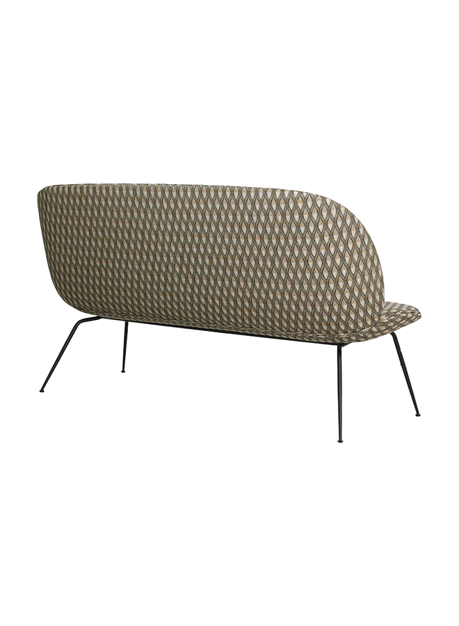 Beetle Sofa - Fully Upholstered, 2-seater, Conic base, Black Matte