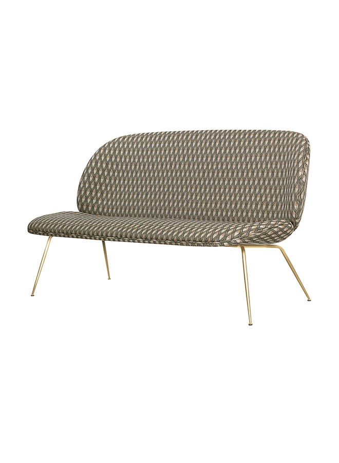 Beetle Sofa - Fully Upholstered, 2-seater, Conic base, Brass Semi Matte
