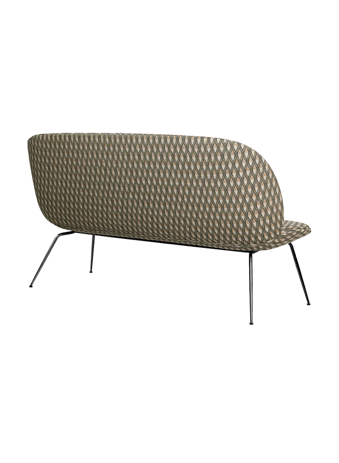 Beetle Sofa - Fully Upholstered, 2-seater, Conic base, Brass Semi-Matte