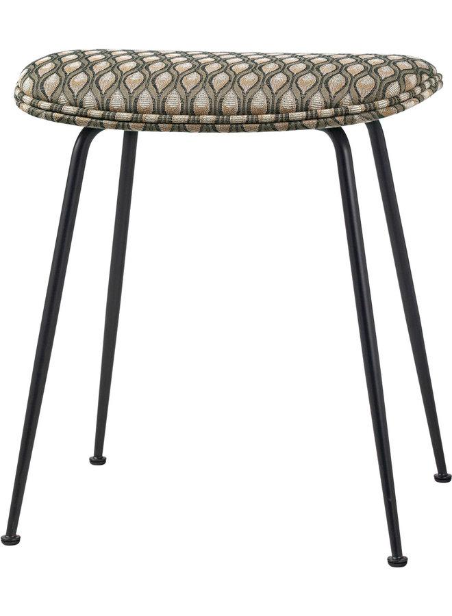 Beetle Stool - Fully Upholstered, 45, Conic base, Black Chrome