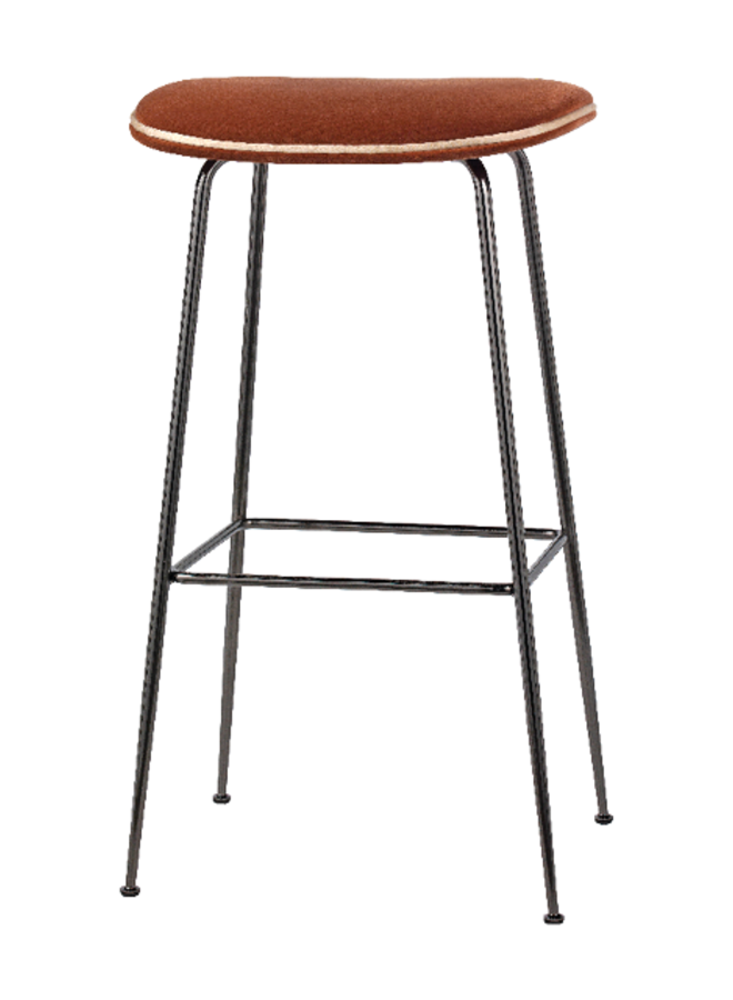 Beetle Bar Stool - Fully Upholstered, 75, Conic base, Black Chrome