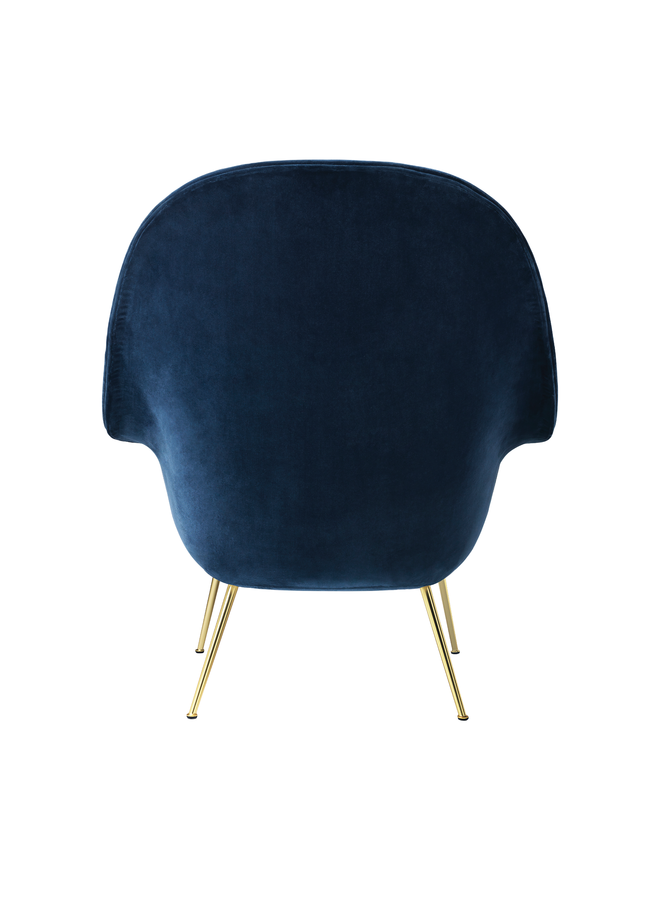 Bat Lounge Chair - Fully Upholstered, High back, Conic base, Brass Semi Matte