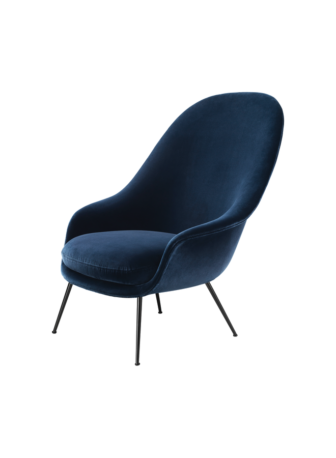 Bat Lounge Chair - Fully Upholstered, High back, Conic base, Black Matte