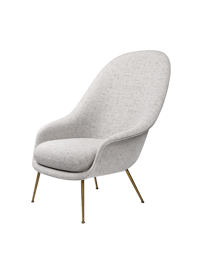 Bat Lounge Chair - Fully Upholstered, High back, Conic base, Antique Brass