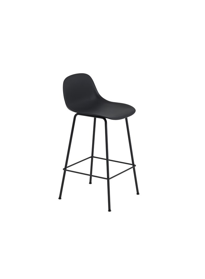 FIBER COUNTER STOOL W. BACKREST / TUBE BASE H: 65 CM / 25.6""
