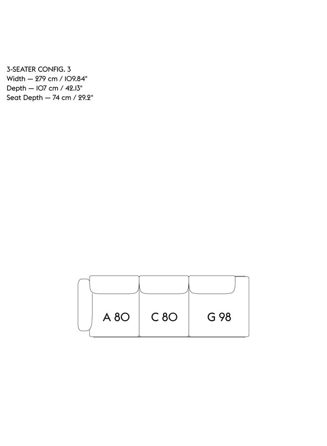 IN SITU MODULAR SOFA / 3-SEATER - CONFIGURATION 3