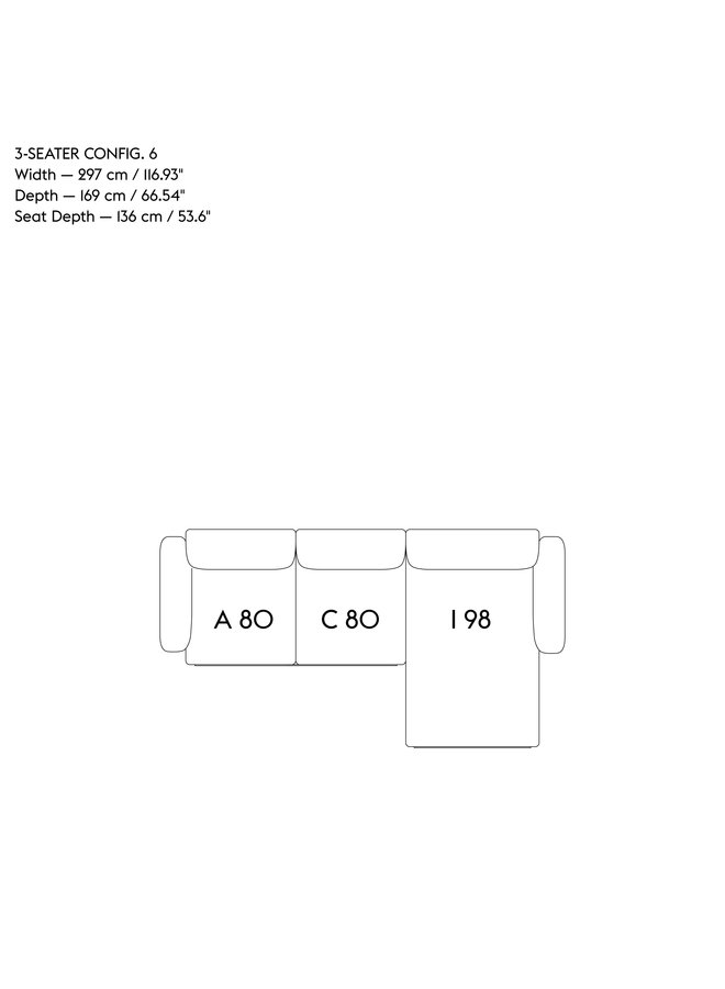 IN SITU MODULAR SOFA / 3-SEATER - CONFIGURATION 6