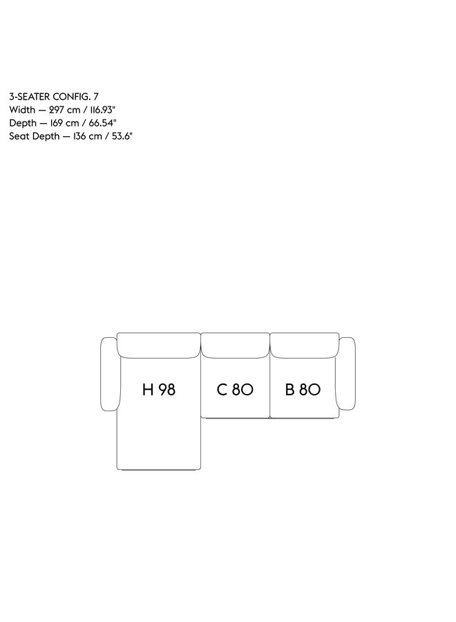 IN SITU MODULAR SOFA / 3-SEATER - CONFIGURATION 7