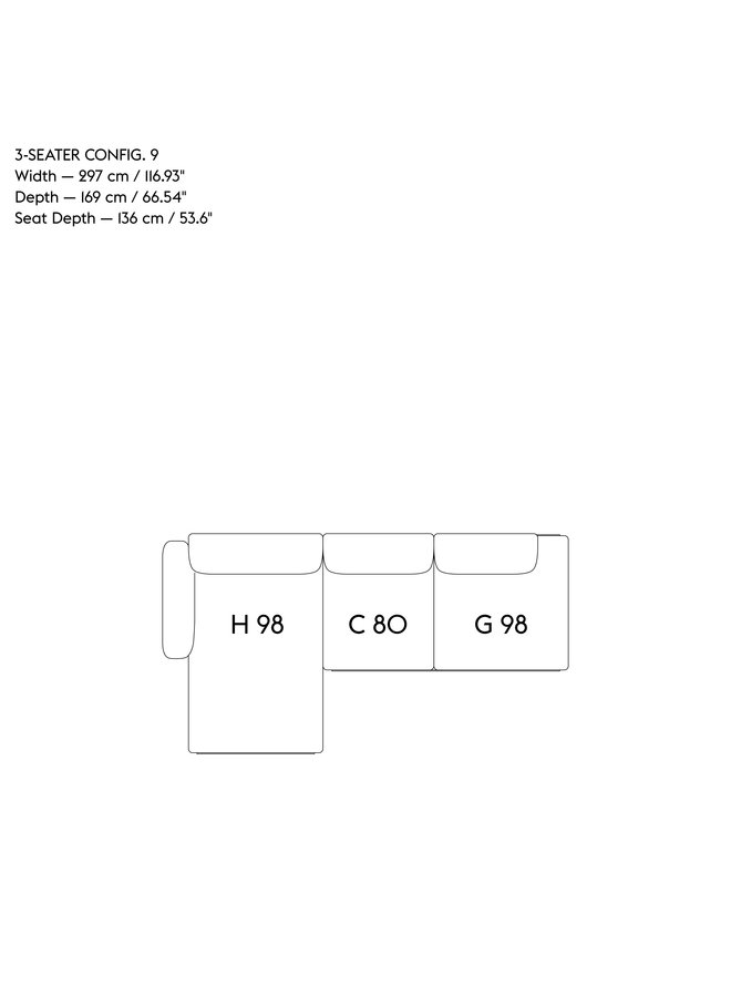 IN SITU MODULAR SOFA / 3-SEATER - CONFIGURATION 9