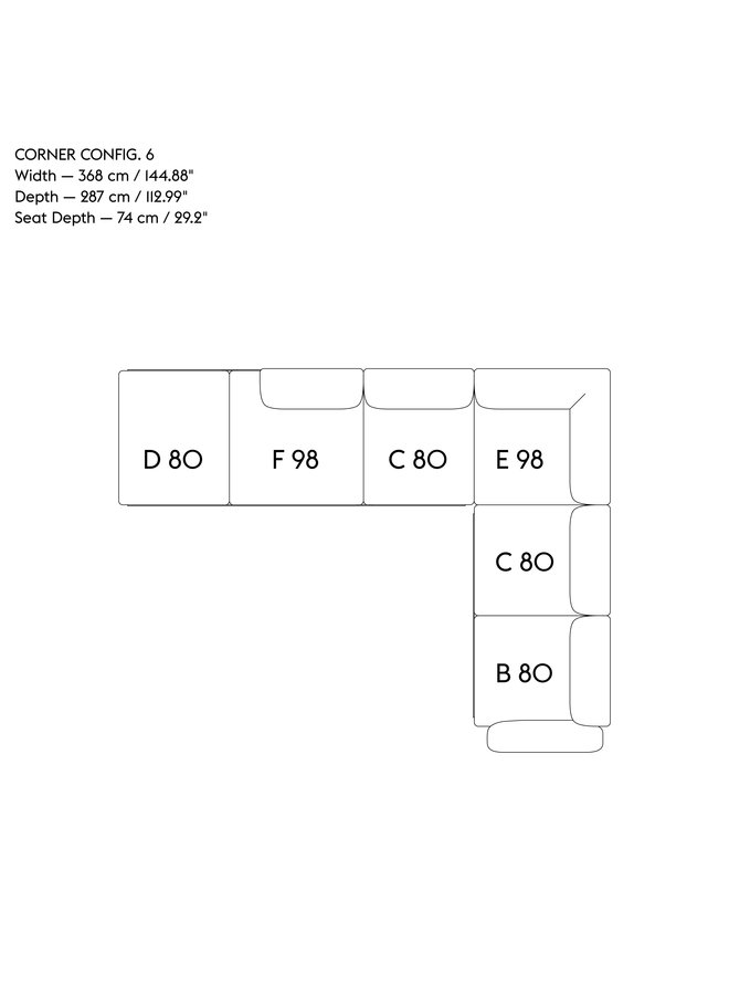 IN SITU MODULAR SOFA / CORNER - CONFIGURATION 6