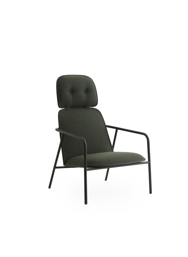 Pad Lounge Chair High Black Steel