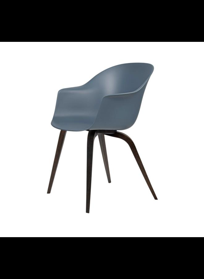 Bat Dining Chair , Wood base, American Walnut Matt Lacquered Base, Black, Plastic Glides