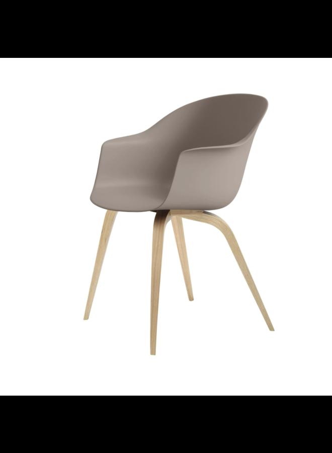 Bat Dining Chair, Wood base, Oak Semi Matt Lacquered, Plastic Guides