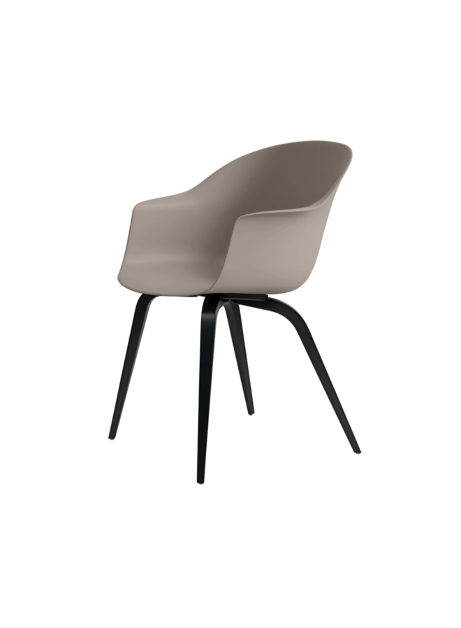Bat Dining Chair, Wood base, Black Stained Beech Semi Matt Lacquered, Plastic Glides