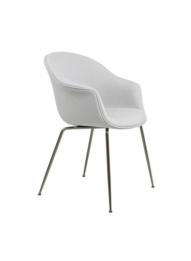 Bat Dining Chair - Fully Upholstered, Conic base, Black Chrome Base