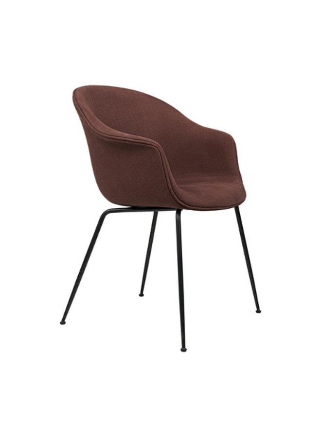 Bat Dining Chair - Fully Upholstered, Conic base, Black Matt Base,