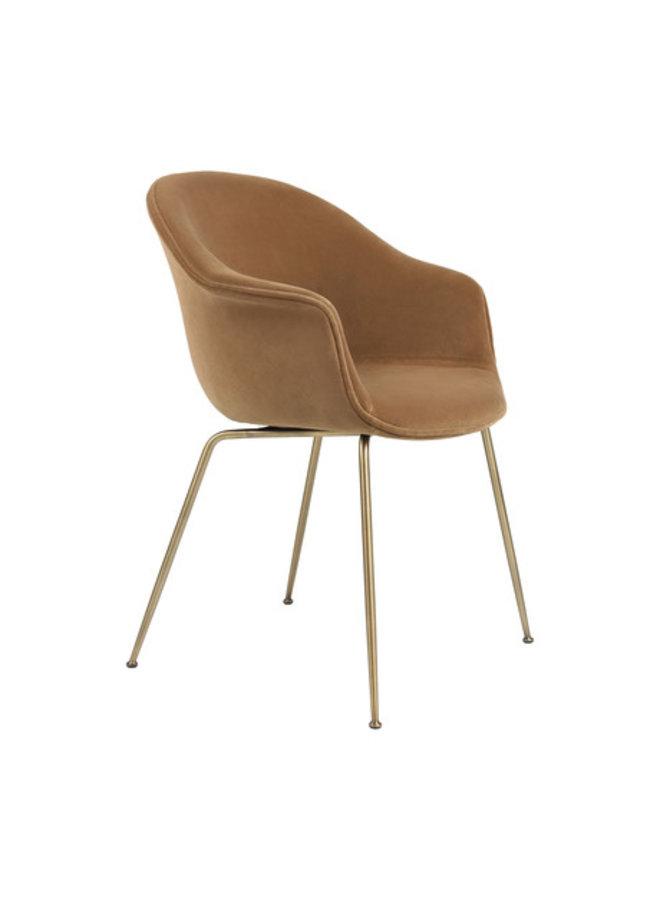 Bat Dining Chair - Fully Upholstered, Conic base, Brass Semi Matt Base