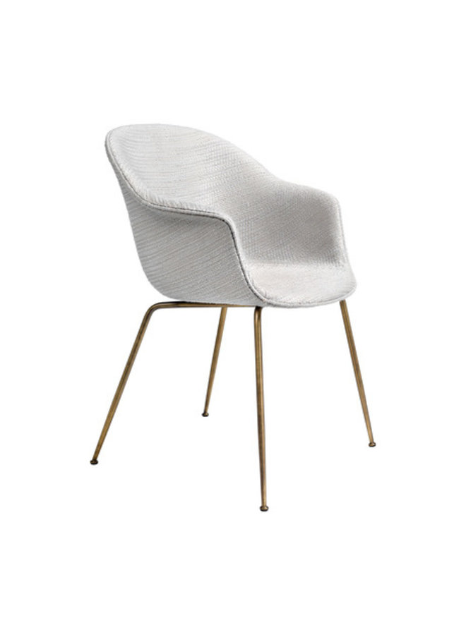 Bat Dining Chair - Fully Upholstered, Conic base, Antique Brass Base