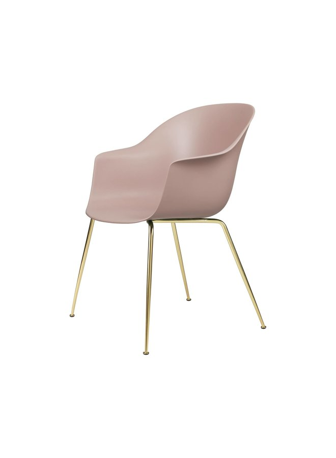 Bat Dining Chair, Conic base, Brass Semi Matt Base, Felt Glides