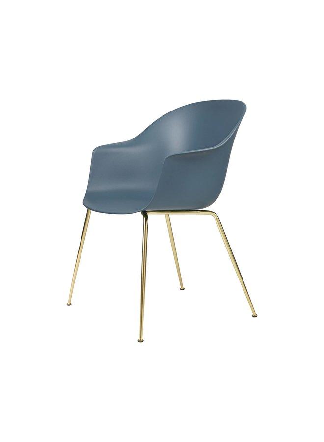 Bat Dining Chair, Conic base, Brass Semi Matt Base, Plastic Glides