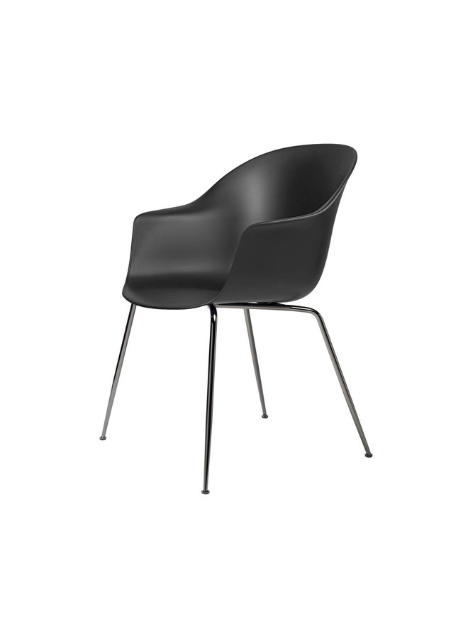 Bat Dining Chair, Conic base, Black Chrome Base, Plastic Glides