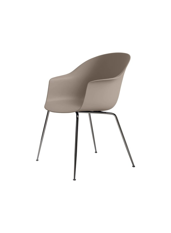 Bat Dining Chair, Conic base, Black Chrome Base, Felt Glides