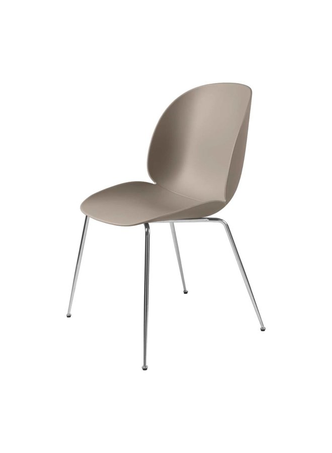 Beetle Dining Chair - Un-Upholstered, Conic base, Chrome Base