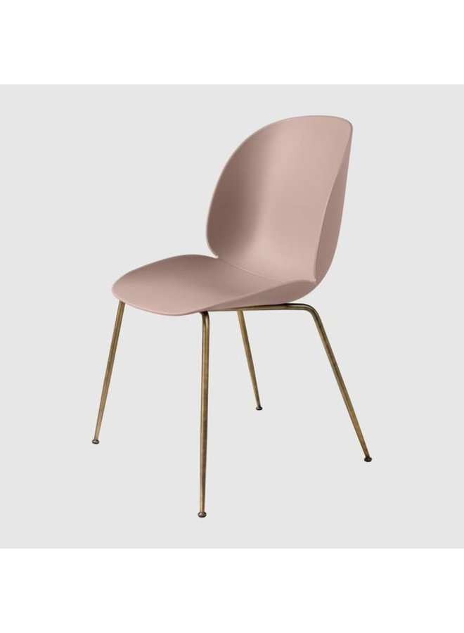 Beetle Dining Chair - Un-Upholstered, Conic base, Antique Brass Base