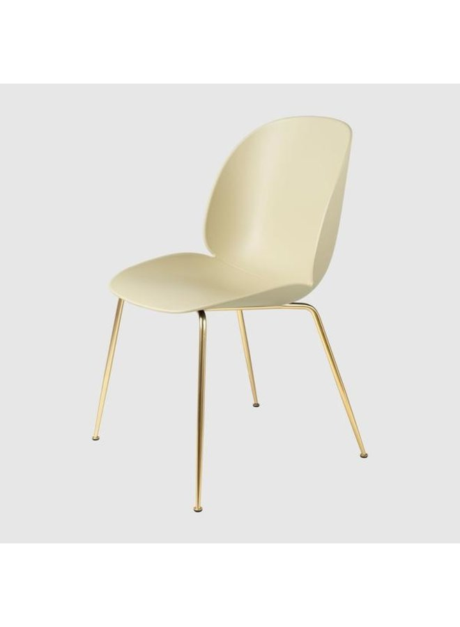 Beetle Dining Chair - Un-Upholstered, Conic base, Brass Semi Matt Base