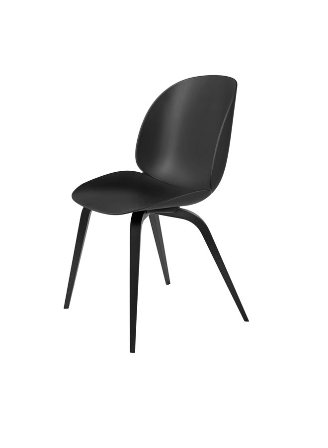 Beetle Dining Chair - Un-Upholstered, Wood base, Black Stained Beech Semi Matt Lacquered Base