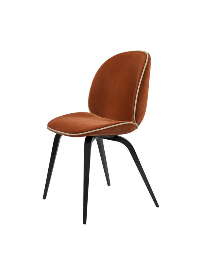 Beetle Dining Chair - Fully Upholstered, Wood base, Black Stained Beech Semi Matt Lacquered Base