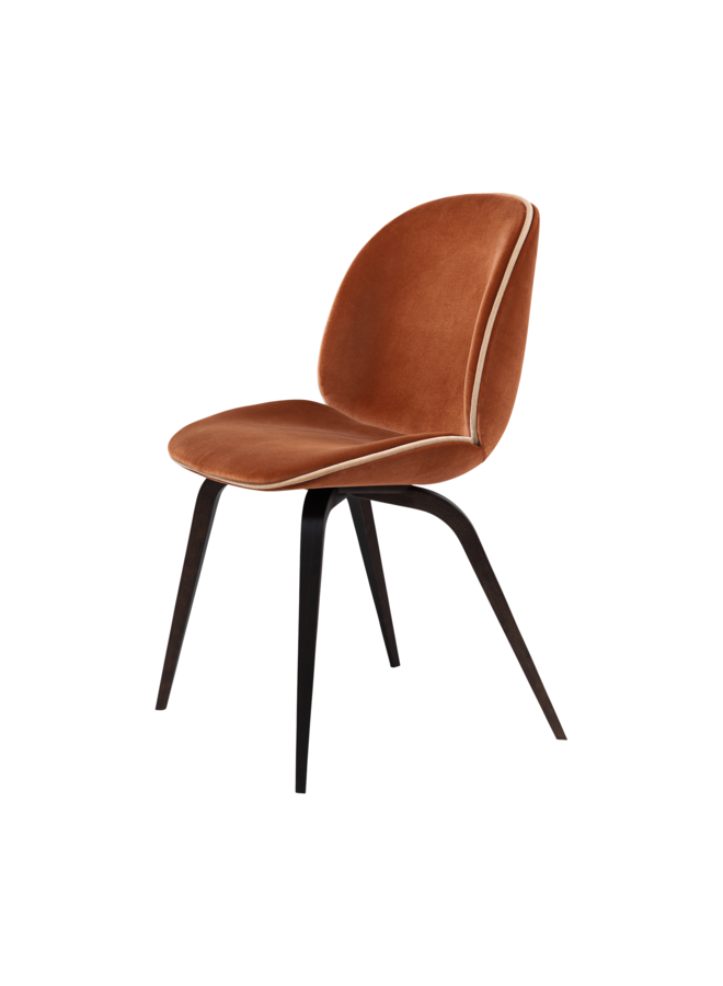 Beetle Dining Chair - Fully Upholstered, Wood base, Smoked Oak Matt Lacquered