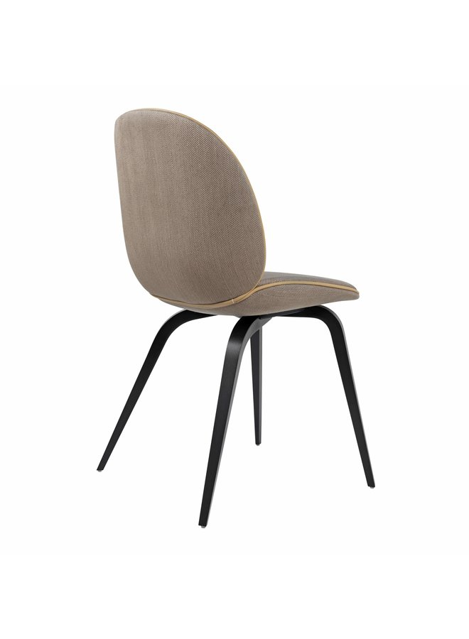 Beetle Dining Chair - Fully Upholstered, Wood base, American Walnut Matt Lacquered Base