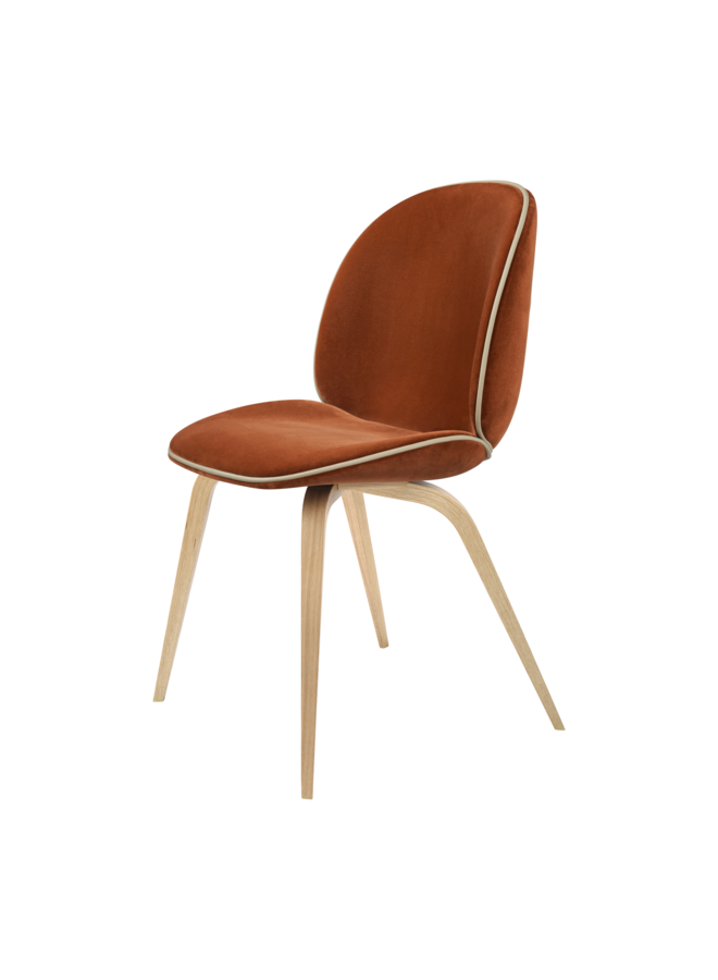 Beetle Dining Chair - Fully Upholstered, Wood base, Oak Semi Matt Lacquered Base