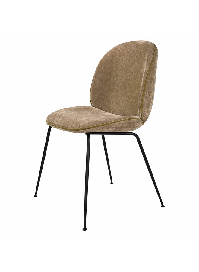 Beetle Dining Chair - Fully Upholstered, Conic base, Black Matt Base