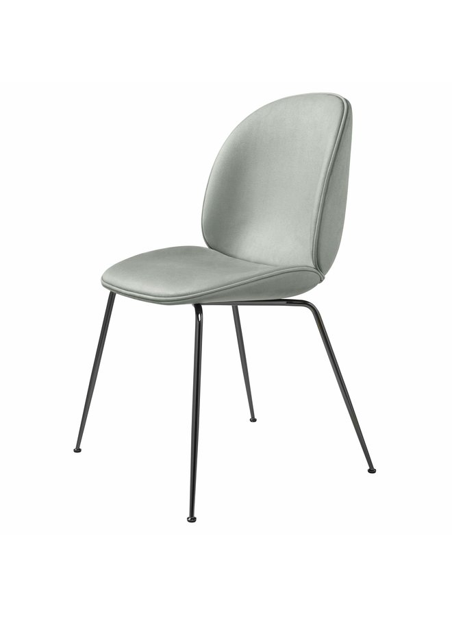 Beetle Dining Chair - Fully Upholstered, Conic base, Black Chrome Base