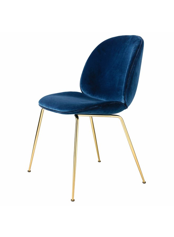 Beetle Dining Chair - Fully Upholstered, Conic base, Brass Semi Matt Base