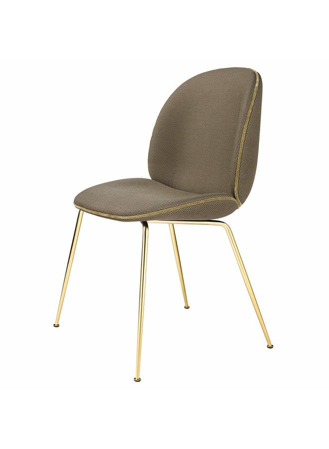 Beetle Dining Chair - Fully Upholstered, Conic base, Brass Semi Matt Base