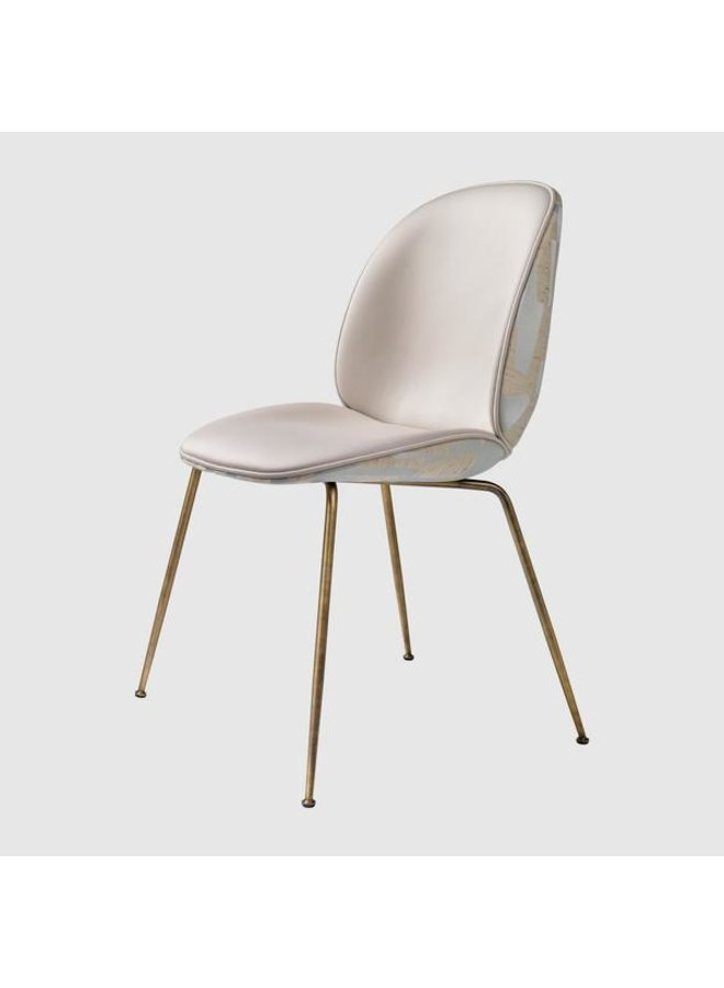 Beetle Dining Chair - Fully Upholstered, Conic base, Antique Brass Base