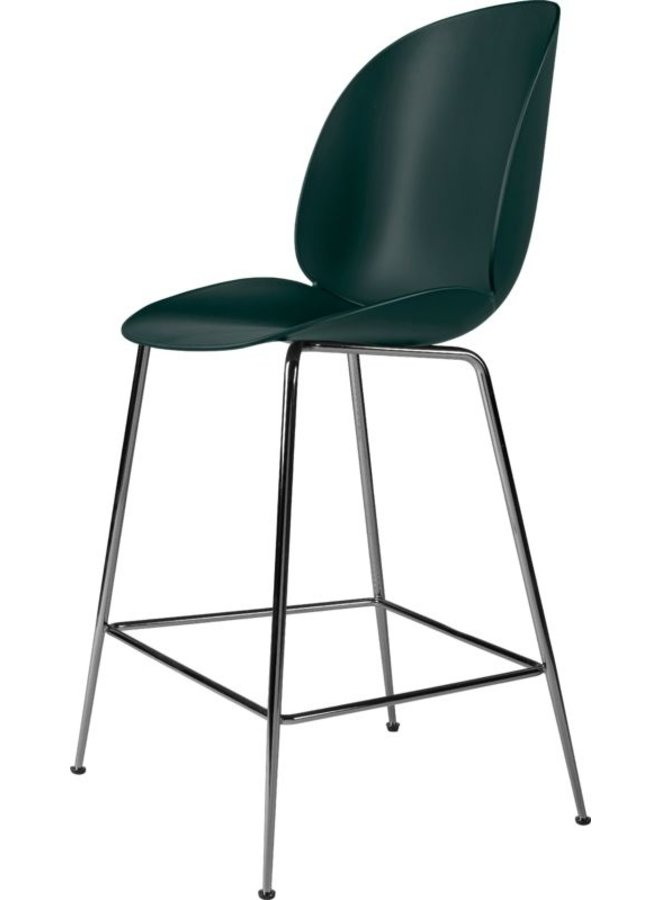 Beetle Counter Chair - Un-Upholstered, 65, Conic base, Black Chrome Base