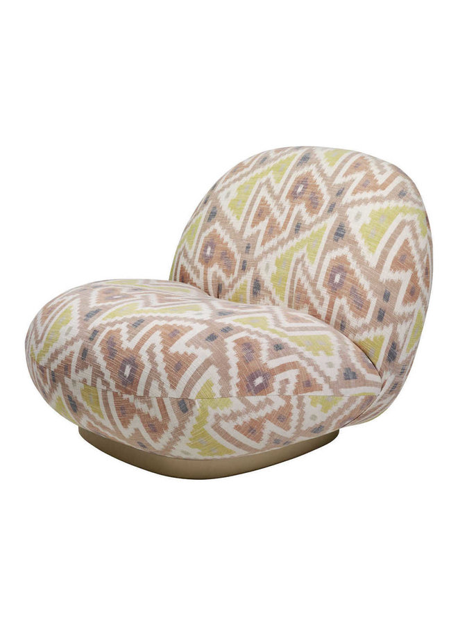 Pacha Lounge Chair - Fully Upholstered, Pearl Gold, Returning Swivel
