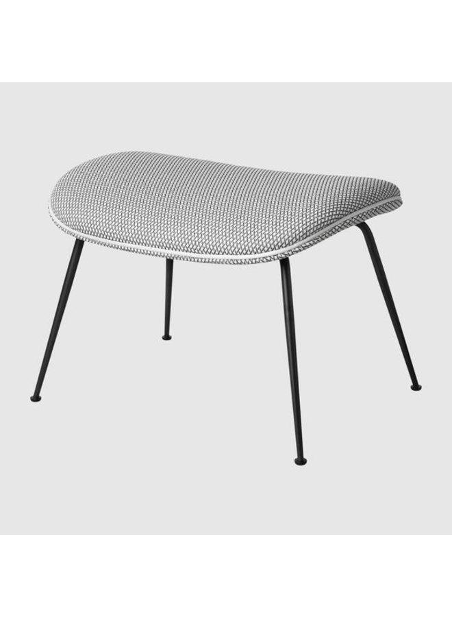 Beetle Ottoman - Fully Upholstered, Conic base, Black Chrome Base
