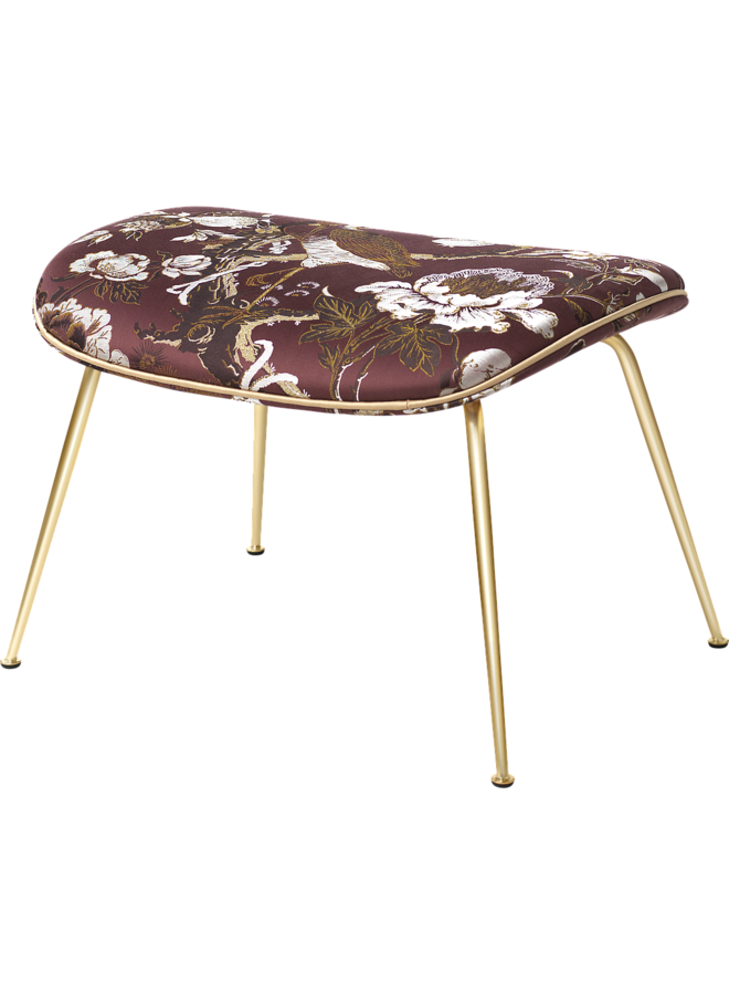 Beetle Ottoman - Fully Upholstered, Conic base, Antique Brass Base