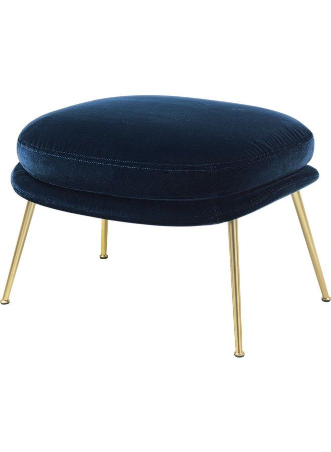 Bat Ottoman - Fully Upholstered, Conic base, Brass Semi Matt Base